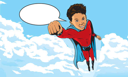 children talking: Superhero Kid flying through clouds