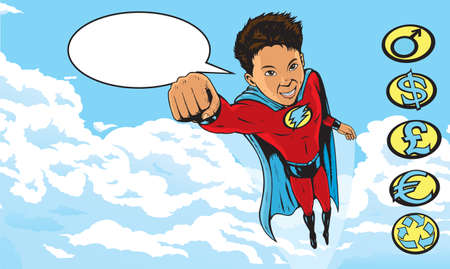 Superhero Kid flying through clouds Vector