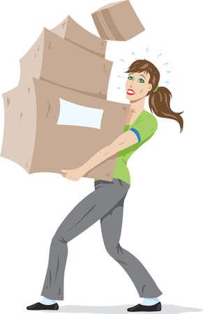 carrying box: Chica llevando cuadros.  Vectores