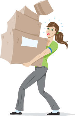 Girl carrying boxes. Vector