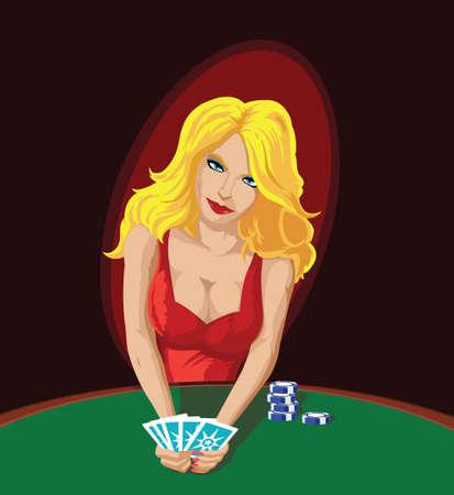 Sexy Poker speler, afleidend u met haar sensualiteit.  Stockfoto - 7175308