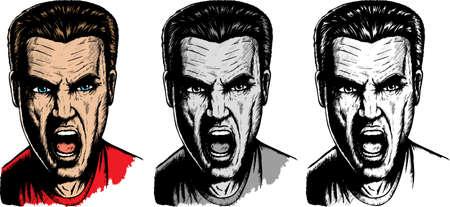 3 つの異なるバージョンで叫んで男。  イラスト・ベクター素材