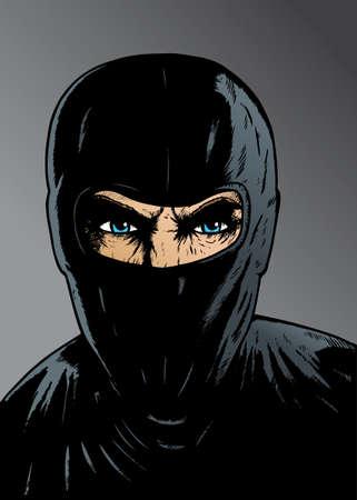 Intense Ninja, dief of speciale troepen.  Vector Illustratie
