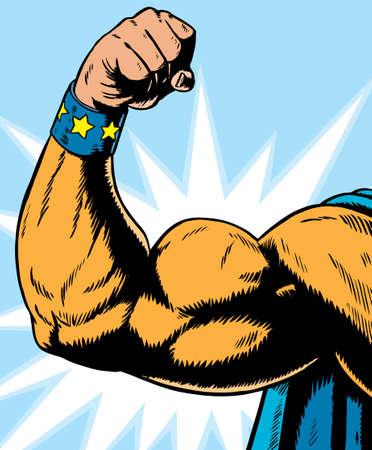 musculoso: flexión de brazo de superhéroe, puede utilizarse para cualquier cosa.  Vectores