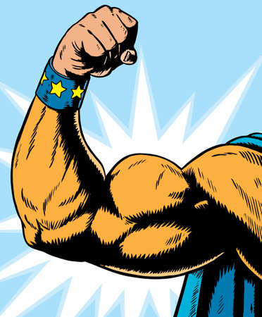 triceps: superhero arm flexing, can be used for anything.