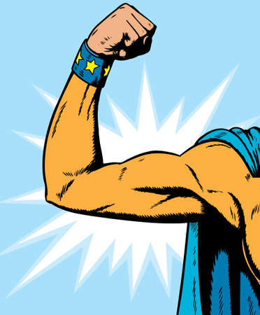 triceps: superheroine arm flexing, can be used for anythin Illustration