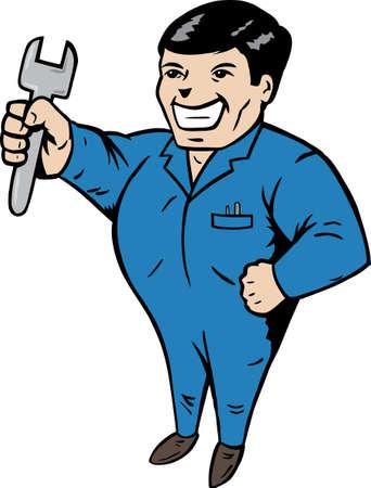 Cartoon van een monteur, klaar om iets vast te stellen.