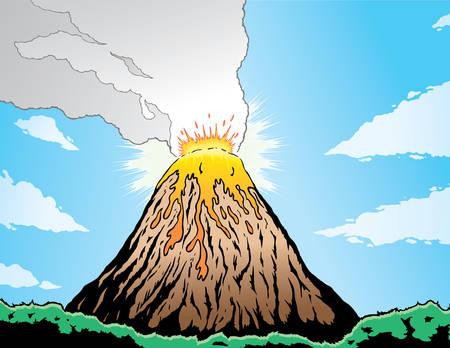 火山噴火をコミック ブック形式。  イラスト・ベクター素材