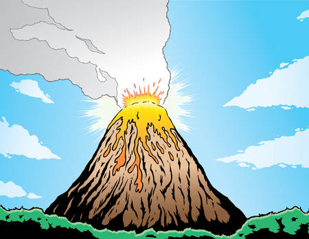 Volcano erupting in a comic book format.