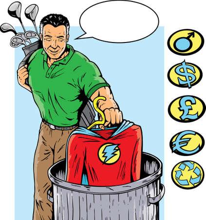 Super héroe retirarse o salir de su trabajo. Con vectore, puede eliminarse la cresta y otros en lado pueden utilizarse.