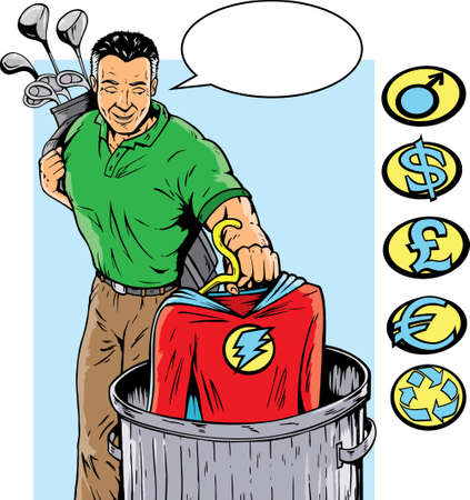 retiring: Super hero retiring or quitting his job. With vectore, crest can be removed and others on side can be used.