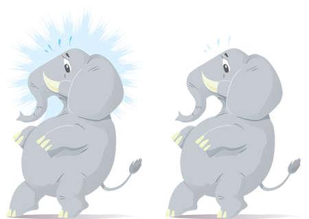Sluipen en nerveus olifant, proberen om tip teen.  Stock Illustratie