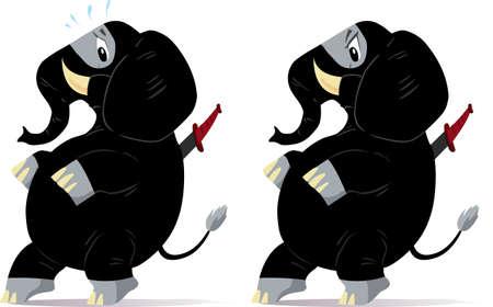 punta: Ninja furtivamente e nervoso di elefanti, uno spaventato e uno arrabbiato  Vettoriali