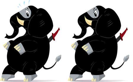 toes: Sneaking and nervous ninja Elephants, one scared and one angry  Illustration