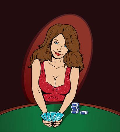 Sexy Poker speler, afleidend u met haar sensualiteit.  Stockfoto - 7362231