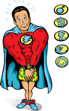 Embarrassed Super guy, caught with pants down. Vector