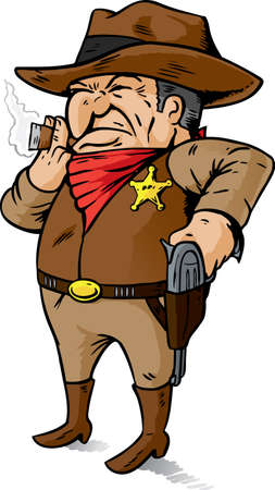 Comedic Cowboy, hand on his gun
