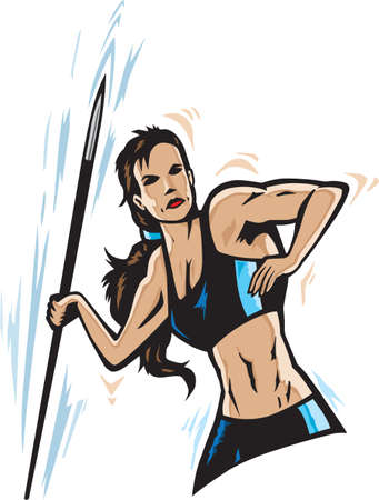 throwing: Athlete throwing javelin in a stylized format. Illustration