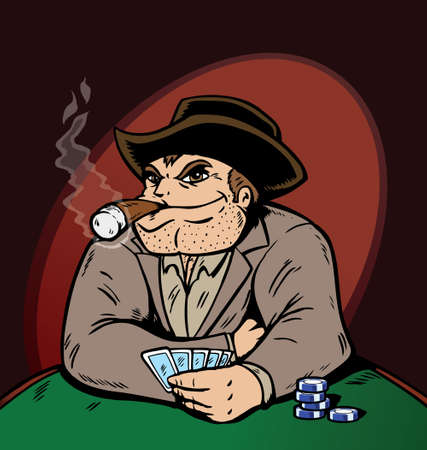cigar smoke: Cowboy playing poker, playing to win! Illustration