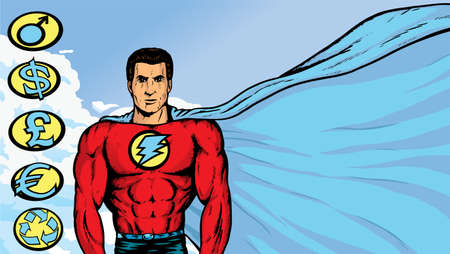 Superhero with flowing cape Vector