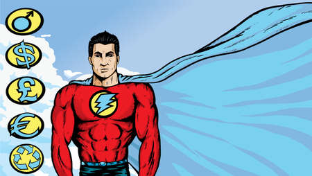 bodybuilding: Asian Superhero where any text or image can be put on flowing cape. With .eps, crests are on a separate layer, and can be movedremoved.