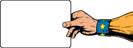 superhero hand holding a sign.  Anything can be put on it.  With vector, sign is on a separate layer and can be moved or removed.