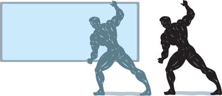 Bodybuilder holding a sign or screen.  Anything can be put on screen or he can be holding anything. Vector