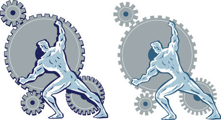Man working gears. Ilustração