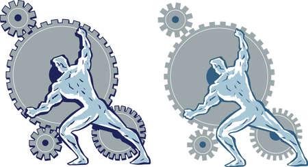 strongman: Man working gears. Illustration