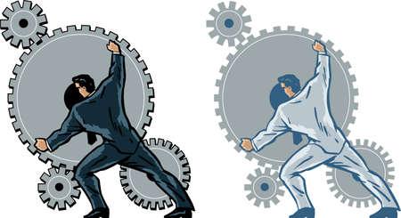 Businessman working gears. Ilustracja