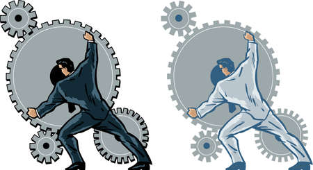 machinist: Businessman working gears. Illustration