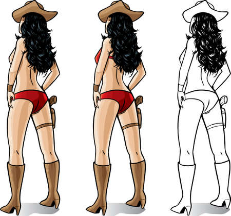 Sexy Cowgirl, one without a top, one with a top.  Vector