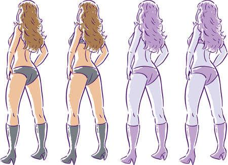prostitue: Sexy meisje in lingerie, een zonder een top, een met een top.