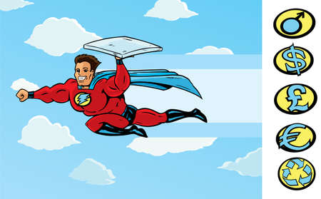 super guy: Super Delivery guy delivering pizza or anything else. With vector, pizza box is on a separate layer and can be removed for hand is fully drawn. Illustration