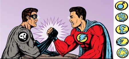 arm muskeln: Superhelden und Schurken.  Helden und Schurken Crest k�nnen entfernt werden.  Illustration