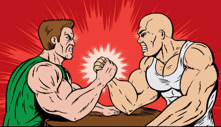 Muscle men arm wrestling
