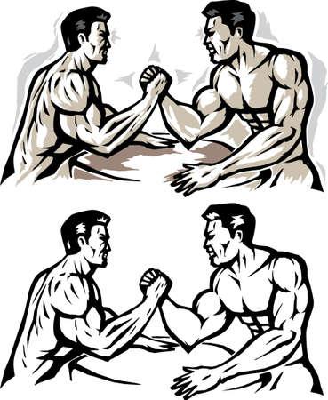 스타일 된 남자 팔 레슬링입니다.