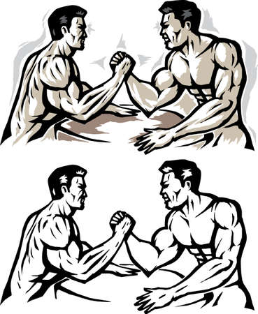 brute: Stylized men arm wrestling.