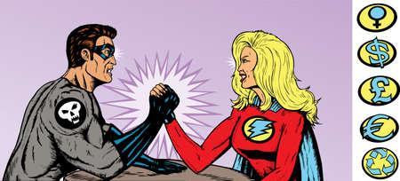trizeps: Superhero versus B�sewicht.  Helden und Schurken Crest k�nnen entfernt werden.