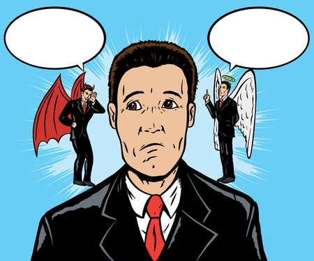 etica: El diablo me hizo hacerlo  Vectores