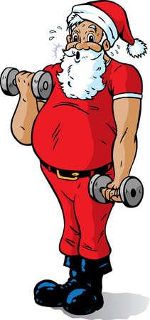 Santa getting in shape Stock Vector - 8092137