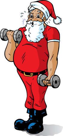 Santa getting in shape Çizim