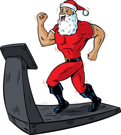 Santa on a treadmill  Vector