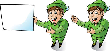 elves: Happy Elf showing something or showing a sign