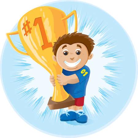 Kid orgulloso que ganó el primer lugar Ilustración de vector