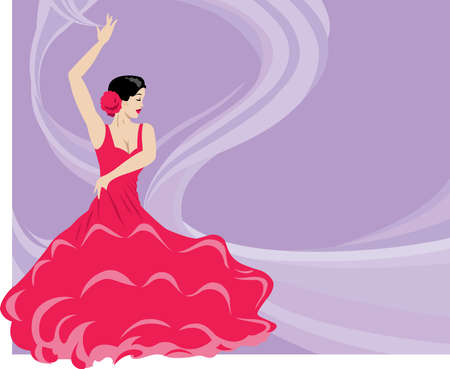 A Flamenco dancer on a flowing background. Illustration