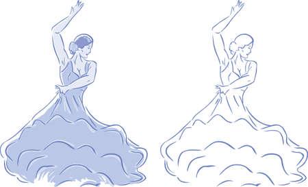 様式化されたフラメンコ ダンサーの 2 つのバージョン