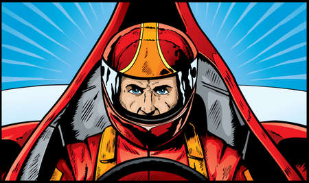 helmet seat: Comic book drawing of an intense Race Car Driver