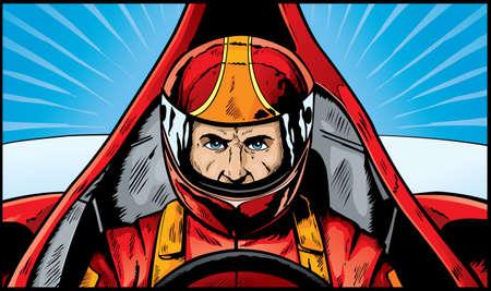 Strip boek tekening van een intense auto coureur