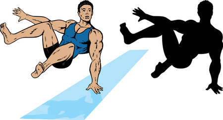 A gymnast jumping with the outline equivalent